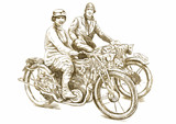 Women on a motorcycle - Hand drawing converted into vector