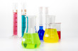 Test glass tubes with color liquids