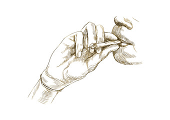 Smoking marijuana joint - Hand drawing converted into vector