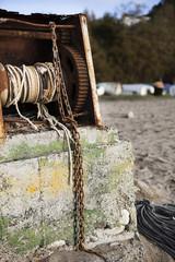 Rusty pier on the beach
