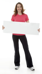 Attractive Woman Holding Blank Sign
