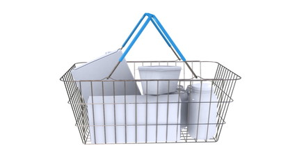 Wire shopping basket with filled with generic shopping items.