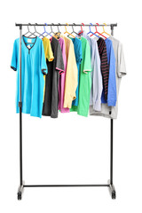 Clothes on hang rail