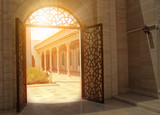 Fototapety mystic view of gate with sunlight