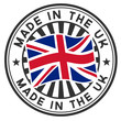 A circular lettering made in the UK. Vector decal or stamp
