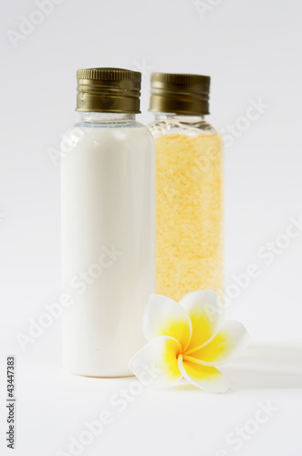 bottles and  plumeria