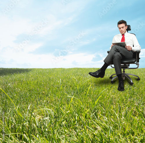 Businessman enjoying a relaxing day