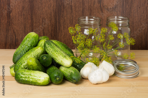 Pickles with jars and garlic
