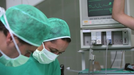 Operation being done in an operating theater