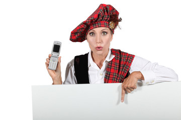 Scottish woman with mobile phone