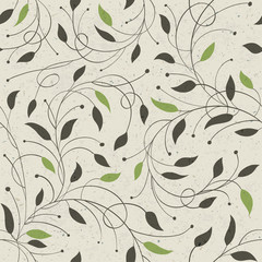 Seamless ecology pattern with leaves. Vector, EPS10