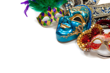 Mardi Gras or carnival mask on white