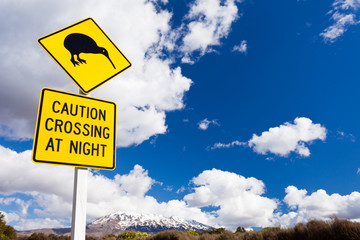 Kiwi Crossing road sign and volcano Ruapehu NZ