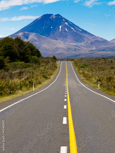 Road leading to active volcanoe Mt Ngauruhoe in NZ