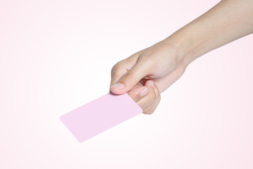 hand hold pink card