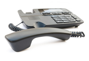 black telephone with clipping path