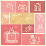 design elements with wedding and love icons