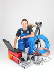 portrait of a female plumber