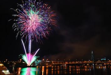 firework under the Willamette river