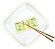 plate chopsticks and dollar pack