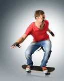 Funny man with suspender on a skateboard