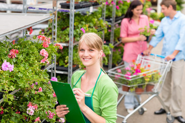 Florist at garden centre retail inventory