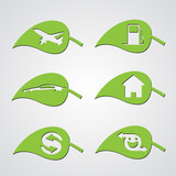 set of diverse ecology leaf icons poster