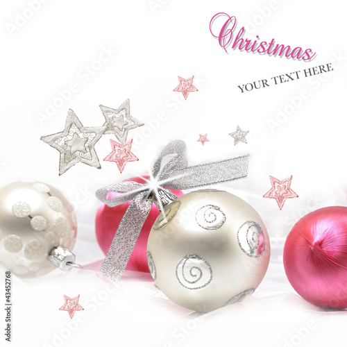Silver and pink Christmas ball baubles with stars