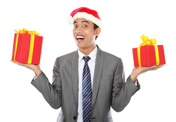 Businessman with christmas gift