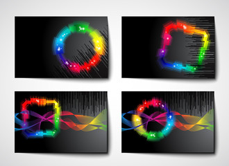 set of black background / banner with rainbow colored shape