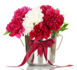 beautiful pink and white peonies in bucket with bow isolated