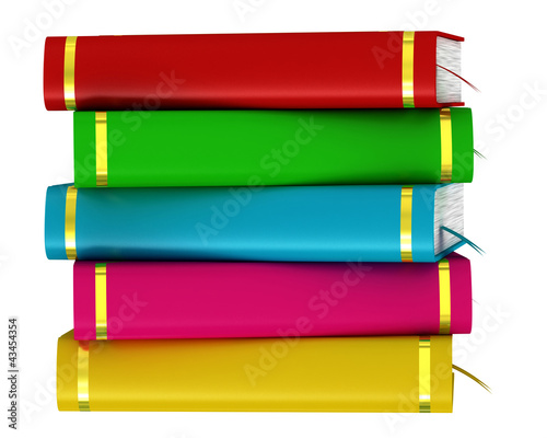 Colorful stack of books isolated on white background