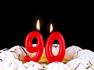 Birthday cake with red candles showing Nr. 90