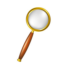 Magnifying glass in golden design