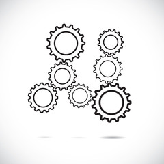 Abstract cogwheels in black and white showing controlled rotatin