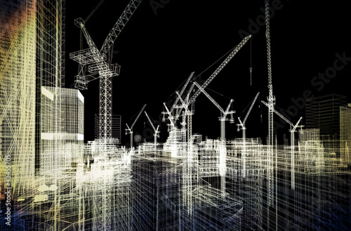 canvas print picture construction site blueprint