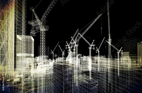Leinwandbild Motiv construction site blueprint