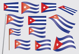 set of flags of Cuba vector illustration