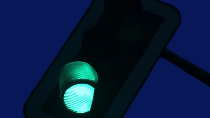 Traffic Light - blue sky by night