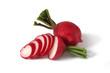 sliced radish and one whole isolated on white background