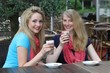 Female friends enjoying iced coffee