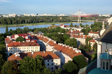 Vistula river and Warsaw old town from high-angle view. Poland