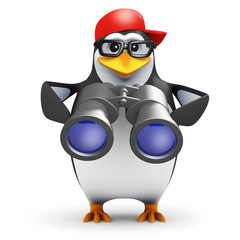 3d Penguin in baseball cap with binoculars