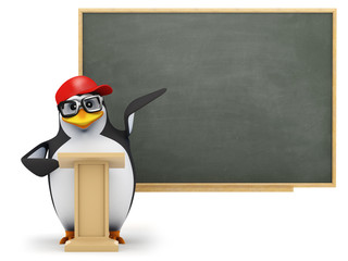 3d Penguin in baseball cap points at blackboard