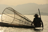 Inle lake fisherman at sunset, Shan state, Myanmar