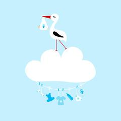 Stork On Cloud Clothes Line Baby Symbols Boy