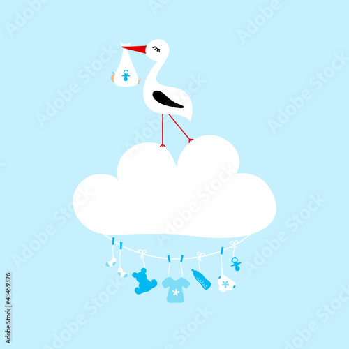 Stork On Cloud Clothes Line Baby Symbols Boy
