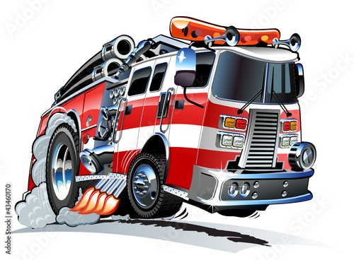 Keuken foto achterwand Cartoon cars Vector cartoon firetruck