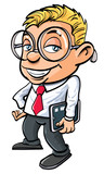 Cartoon cute nerdy office worker with tablet pc