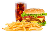 Fototapety Cheeseburger with cola soda drink